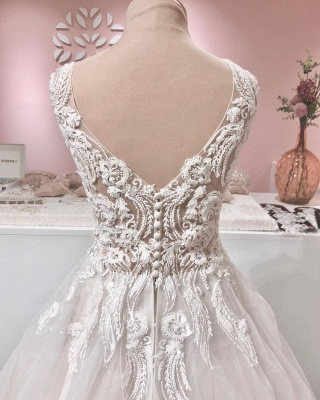 Gorgeous Tulle Ruffles V Neck Wedding Dresses With Lace Appliques_4