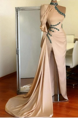 Asymmetrical High Neck Sexy Slit Prom Dress On Sale