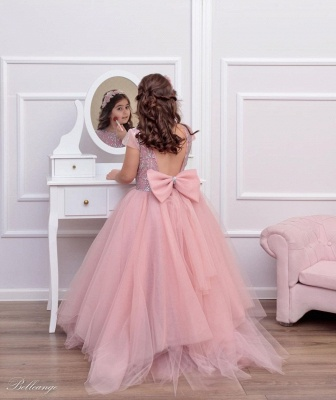 Cute Tulle Beadings Cap Sleeves Flower Girl Dress with Bow Online_2