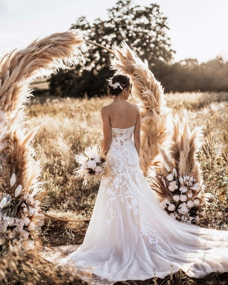 Simple Strapless Sweetheart Tulle Lace Wedding Dress Online_2