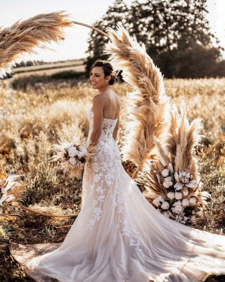 Simple Strapless Sweetheart Tulle Lace Wedding Dress Online_3