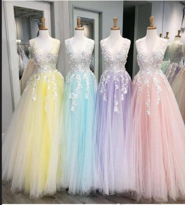 Sexy Deep-V-Neck Tulle Lace Prom Dress On Sale_5