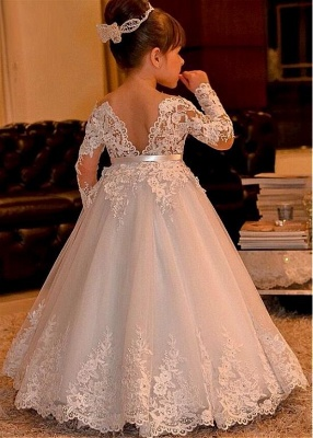 Cute Ball Gown Long Sleeves Lace Flower Girl Dress On Sale_2