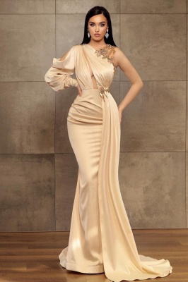 Sexy Mermaid One-Shoulder Charmeuse Prom Dress with Beadings Online_1