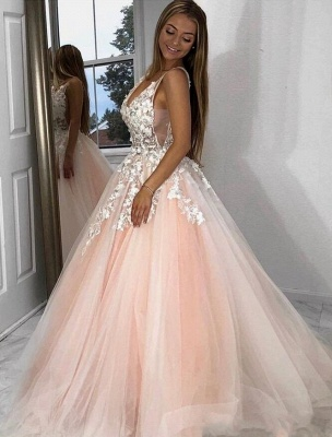 Sexy Deep-V-Neck Tulle Lace Prom Dress On Sale_2