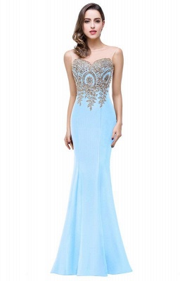 Women's Rhinestone Appliques Sheer Maxi Long Evening Prom Party Dress On Sale_11