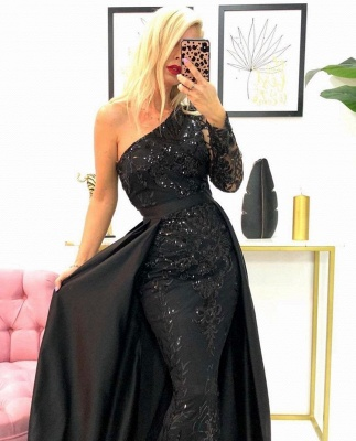 One-Shoulder Mermaid Lace Prom Dress with Beadings Online_2