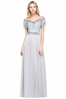 A-line Jewel Short Sleeves Sequins Evening Dress with Tassels in Stock_1