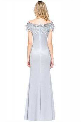 Elegant Jewel Short Sleeves Sequins Evening Dress with Tassels in Stock_3