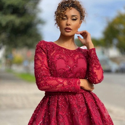 Luxury Jewel Long Sleeves Burgundy Tulle Lace Prom Dress with Beadings Online_3