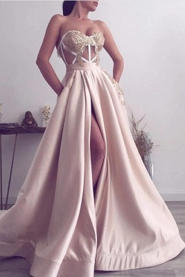 Sexy Strapless Satin Lace Slit Prom Dress On Sale