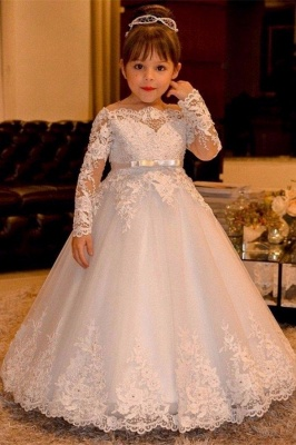 Cute Ball Gown Long Sleeves Lace Flower Girl Dress On Sale_1