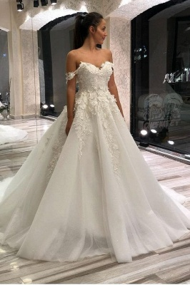 Off The Shoulder Tulle Sweetheart Ruffles Wedding Dresses With Applliques
