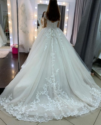 Princess Long Sleeves Tulle Wedding Dress with Appliques On Sale_4