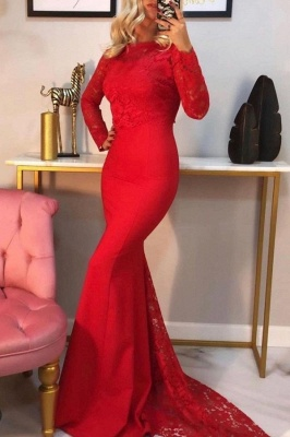 Elegant Mermaid Long Sleeves Red Prom Dress with Lace Online
