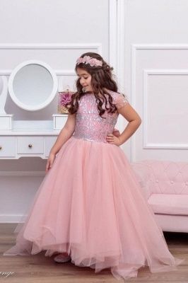 Cute Tulle Beadings Cap Sleeves Flower Girl Dress with Bow Online_1