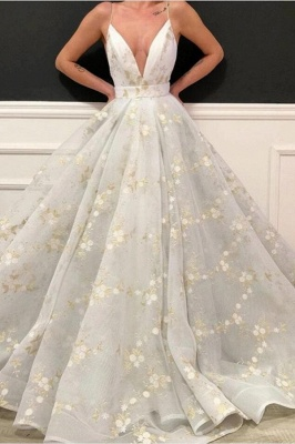 Sexy Deep-V-Neck Flowers Prom Dress Online