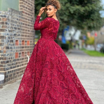 Luxury Jewel Long Sleeves Burgundy Tulle Lace Prom Dress with Beadings Online_2