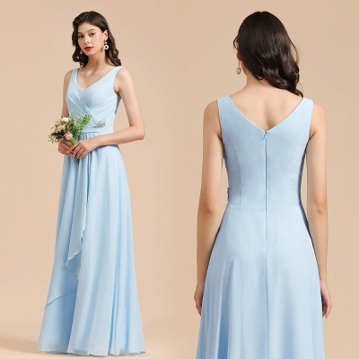 Elegant V Neck Sleeveless Sky Blue Bridesmaid Dresses Maxi_10
