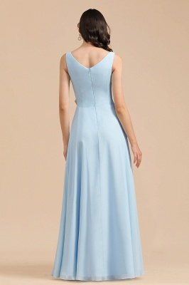 Elegant V Neck Sleeveless Sky Blue Bridesmaid Dresses Maxi_3
