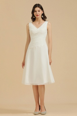 Plain V Neck White Ruffles Bridesmaid Dresses Midi