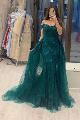 Off The Shoulder Sweetheart Jade Tulle Lace Mermaid Evening Dresses With Detachable Train
