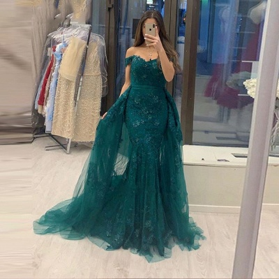 Off The Shoulder Sweetheart Jade Tulle Lace Mermaid Evening Dresses With Detachable Train_2