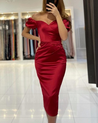 Chic Off The Shoulder Ruby Sweetheart Knee-Length Mermaid Prom Dresses_3