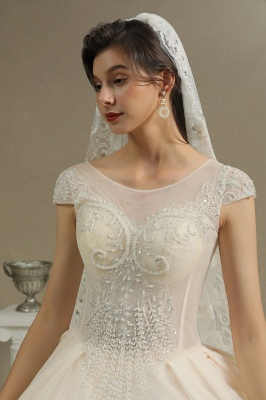 Gorgeous Short Sleeves Lace Wedding Dresses A-Line_3