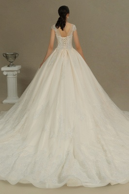 Gorgeous Short Sleeves Lace Wedding Dresses A-Line_7