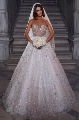 Eye-catching Strapless Crystal White Tulle Lace A-Line Wedding Dresses