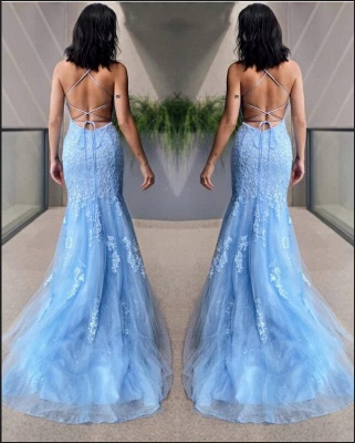 Halter Sky Blue Tulle Lace Appliques Mermaid Prom Dresses Long_3