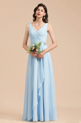 Elegant V Neck Sleeveless Sky Blue Bridesmaid Dresses Maxi_4
