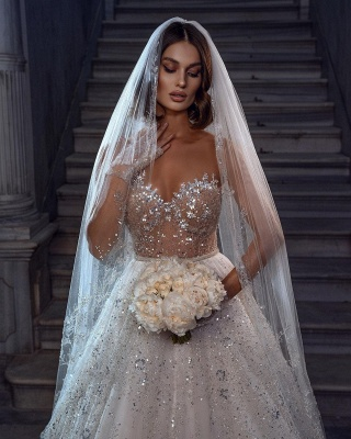 Eye-catching Strapless Crystal White Tulle Lace A-Line Wedding Dresses_3