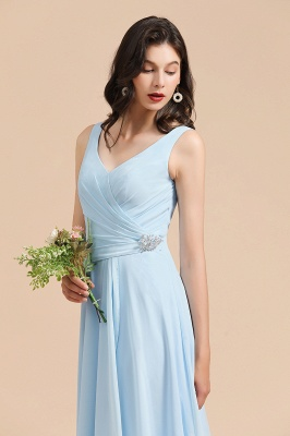 Elegant V Neck Sleeveless Sky Blue Bridesmaid Dresses Maxi_7