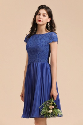 Elegant Dark Blue Lace Bridesmaid Dresses Ruffles