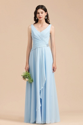 Elegant V Neck Sleeveless Sky Blue Bridesmaid Dresses Maxi