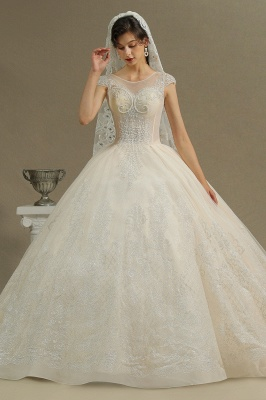 Gorgeous Short Sleeves Lace Wedding Dresses A-Line_5