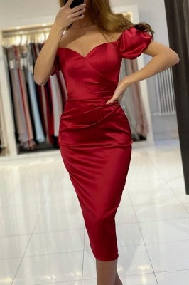 Chic Off The Shoulder Ruby Sweetheart Knee-Length Mermaid Prom Dresses