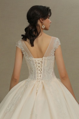 Gorgeous Short Sleeves Lace Wedding Dresses A-Line_8