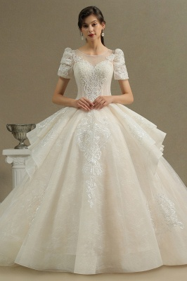 Elegant Princess Short Sleeves Lace Wedding Dress A-Line