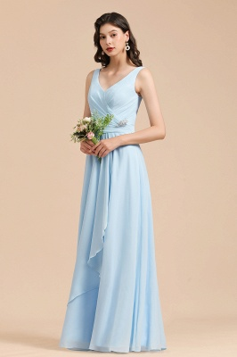 Elegant V Neck Sleeveless Sky Blue Bridesmaid Dresses Maxi_6
