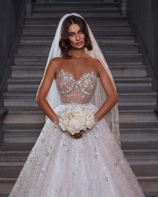Eye-catching Strapless Crystal White Tulle Lace A-Line Wedding Dresses_2