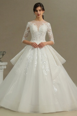Elegant Beading Lace Wedding Dresses With Half Sleeves