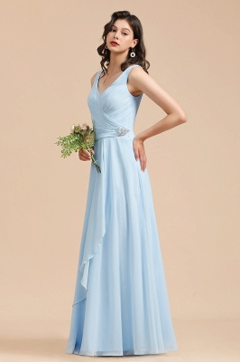 Elegant V Neck Sleeveless Sky Blue Bridesmaid Dresses Maxi_5