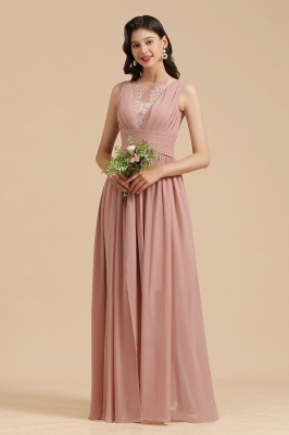 Elegant Sleeveless Beading Bridesmaid Dress Chiffon