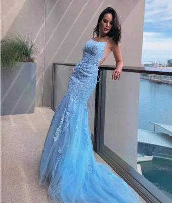Halter Sky Blue Tulle Lace Appliques Mermaid Prom Dresses Long_2