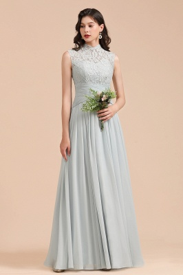 Women High Neck Light Mint Bridesmaid Dresses With Lace Appliques