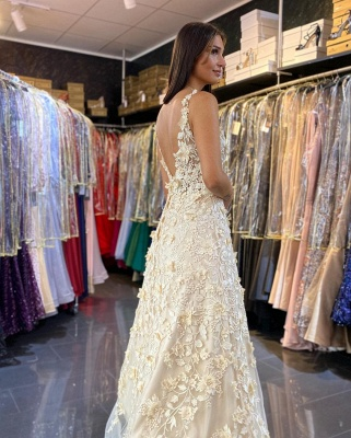 Women V Neck White Ruffles Prom Dresses With Lace Appliques_3