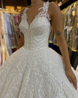 Gorgeous Sleeveless White Tulle Lace Ruffles Ball Gown Wedding Dresses_5